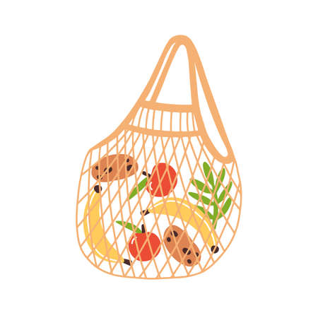 Trendy eco reusable shopping bag with fruits and vegetables. Zero waste string bag isolated on white background. Vector illustration in flat cartoon style 矢量图像