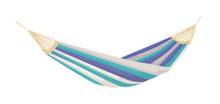 Hanging hammock made from mixed color striped textile. Summer beach recreation tool for sleep and relax. Flat vector cartoon illustration isolated on white background