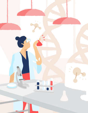 Female scientist conducting medical experiment, discovery vaccine. Woman researcher holding flask. Chemist working in laboratory. Vector illustration in flat cartoon style 矢量图像