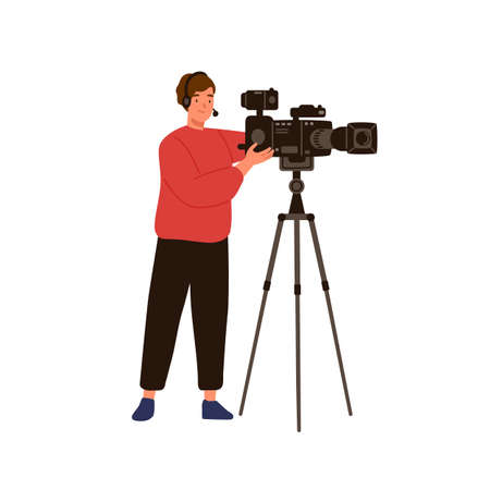Professional cameraman or operator isolated on white background. Man videographer character holding camera. Movie production worker with recording equipment. Vector illustration in flat cartoon style.