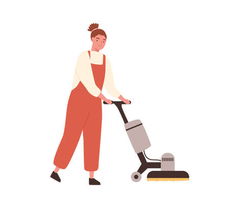 Young woman janitor in uniform holding sweeper machine. Cleaning service professional worker with floor washing equipment isolated on white background. Vector illustration in flat cartoon style