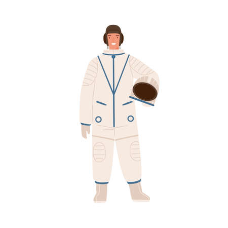 Professional cosmonaut in uniform. Young smiling astronaut in spacesuit holding helmet. Male spaceman character. Flat vector cartoon illustration isolated on white background