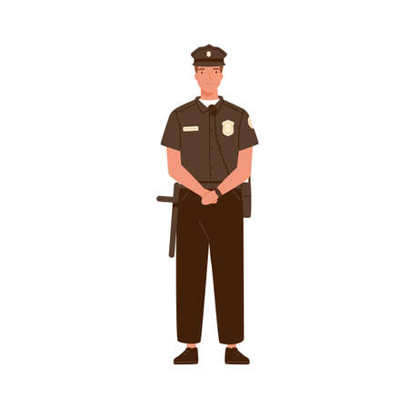 Young handsome police officer or cop isolated on white background. Policeman in uniform equipped with walkie talkie and baton. Sheriff in professional outfit. Flat vector cartoon illustration 矢量图像