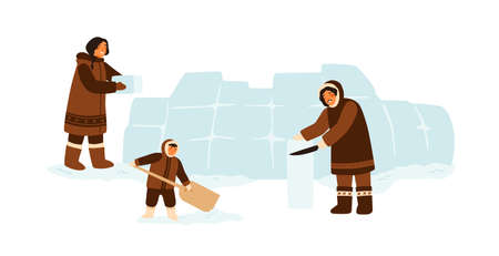 Eskimo traditional family constructing igloo with ice cubes together. Inuit people in traditional clothes building house. Flat vector cartoon illustration isolated on white background 矢量图像