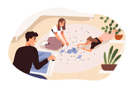 Happy young people assembling jigsaw puzzle together. Family spend time at home. Friends pastime. Teenager girls lying on floor. Flat vector cartoon illustration isolated on white background 矢量图像