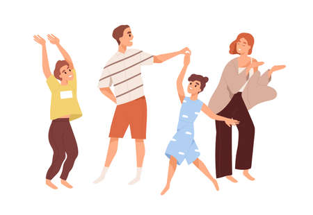Cute happy family dancing. Joyful children and parents spend time together. Mother and father playing with kids at home isolated on white. Colorful vector illustration in flat cartoon style