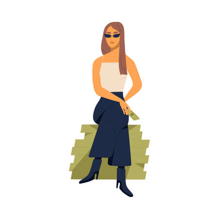 Young stylish millionaire woman sitting on large pile of money. Concept of richness and wealth. Modern rich arrogant female character. Flat vector cartoon illustration isolated on white