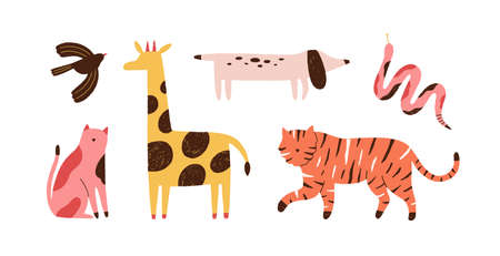 Set of doodle abstract trendy wild animals and pets. Stylish modern contemporary art. Bird, snake, giraffe, dog, tiger, cat isolated on white. Flat vector cartoon illustration isolated on white 矢量图像