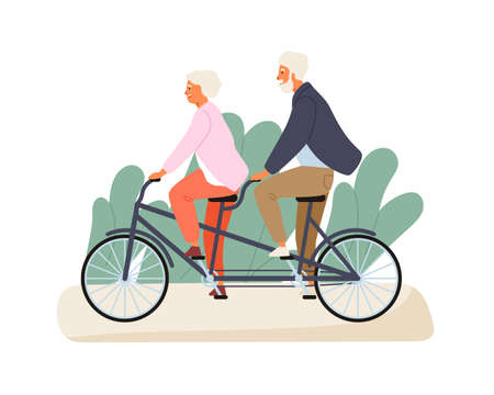 Active grandparents ride tandem bike in summer park. Elderly couple spend time together outdoors. Flat vector cartoon illustration of family recreation. Cheerful pensioners isolated on white 向量圖像
