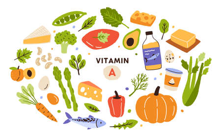 Collection of vitamin A sources. Healthy food containing carotene. Dairy products, greens, vegetable, fruits, fish. Dietetic organic products, natural nutrition. Flat vector cartoon illustration Vecteurs