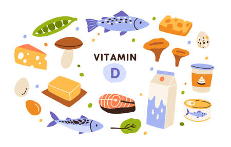 Collection of vitamin D sources. Food enriched with cholecalciferol. Dairy products, fish, mushrooms and eggs. Dietetic organic nutrition. Flat vector cartoon illustration isolated on white Ilustração