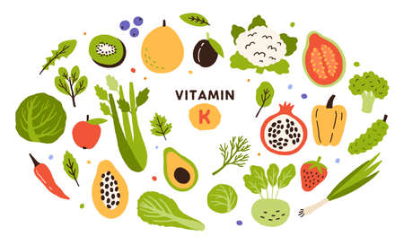 Collection of vitamin K sources. Fruits, green vegetables and berries. Dietetic products, natural organic nutrition. Flat vector cartoon illustration isolated on white background Vetores