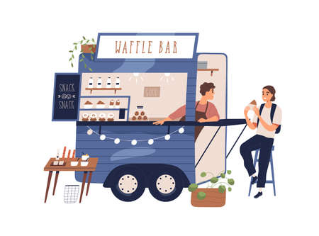 Cute waffle bar food truck with sweet snacks. Modern local street cafe with takeaway food and happy woman eating tasty dessert. Flat vector cartoon illustration on white background 矢量图像