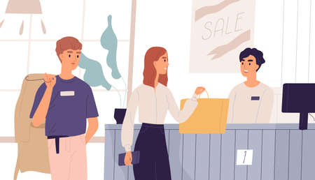 Young people in outlet shop purchasing clothes. Cashier at checkout counter and customers standing in queue. Man and woman shopping at fashion boutique, clothing store. Flat vector illustration.