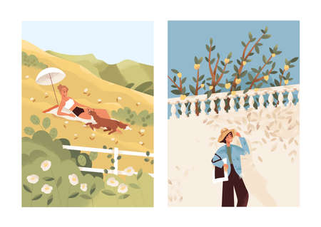 Solitude concept. Female in bikini sunbathing with dog in meadow. Relaxed happy woman walking alone in the street. People spending summertime outdoors. Urban vs nature rest. Flat vector illustration