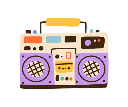 Colorful hiphop boombox isolated on white background. Retro cassette player, music recorder. Party stereo system of 80s and 90s. Vector illustration in flat cartoon style 矢量图像