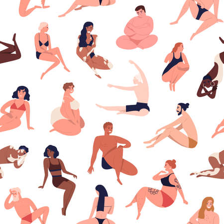 Body diversity seamless pattern. Repeatable background with male and female characters of different shape, size, skin color. Body positive people in underwear. Flat cartoon vector illustration.