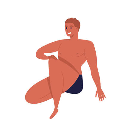 Sunburnt man in black underpants with fit body. Naked male character in underwear. Smiling guy model in underwear. Flat vector cartoon illustration isolated on white background