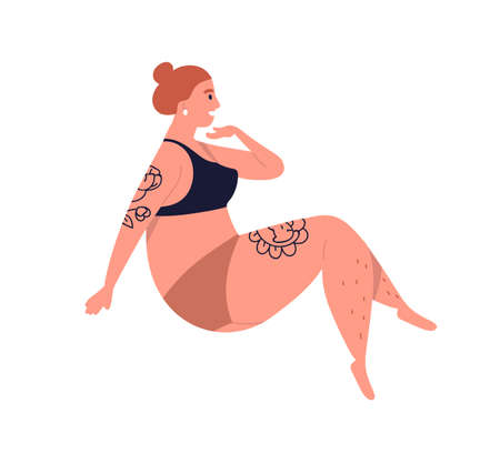 Plus size tattooed woman in underwear. Female model with curvy shape. Body positive character with natural beauty. Flat vector cartoon illustration isolated on white background.