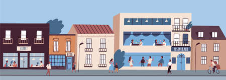 City street panorama with people walking, cycling and spending time in cafe and restaurant. Urban downtown area landscape with buildings facades. Vector illustration in flat cartoon style