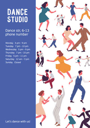 Colorful vertical poster with different couples dancing lindy hop or swing. Advertising for dance studio with a place for text. Vector illustration in flat cartoon style