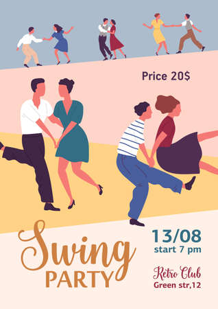 Colorful vertical poster for swing or lindy hop party with different couples dancing. Advertising for retro dance event with a place for text. Vector illustration in flat cartoon style