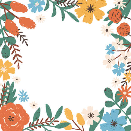 Colorful frame border with different blooming meadow flowers. Natural background with a place for text. Elegant floral square card. Vector illustration in flat cartoon style