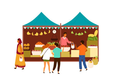 Asian street market kiosk isolated on white background. Vendor in the booth selling tropical fruits to customers. Arabic or Indian local marketplace. Vector illustration in flat cartoon style