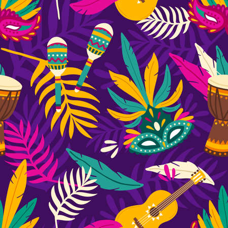 Colorful seamless pattern for carnival with festive masks, maracas, guitar and djembe drum. Bright repetitive background with traditional carnaval attributes. Vector illustration in flat cartoon style Vector Illustration