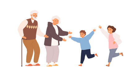 Happy grandchildren running to smiling grandmother and grandfather. Scene of family hug or relations. Retired grandparents welcome children on white. Flat vector cartoon illustration isolated on white 矢量图像
