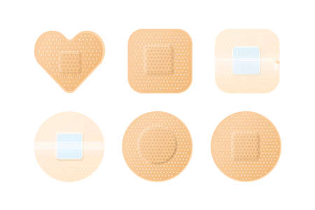 Collection of realistic medical adhesive plasters patches. Modern perforated medical set. Flat vector cartoon illustration isolated on white background