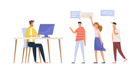 Concept of call center service, questions processing. Group of people asking customer support specialist, smm manager. Man in headset sitting at desk. Vector illustration in flat cartoon style