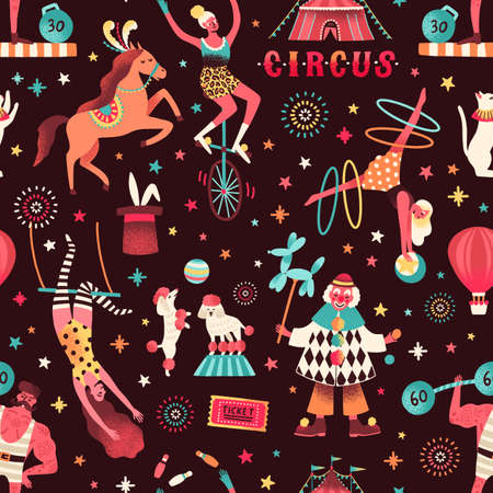 Seamless pattern with different circus artists and trained animals. Flat vector cartoon illustration of cirque performers. Clown, juggler, acrobat and strongman on festive repeatable background
