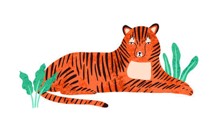 Childish portrait of relaxed tiger in scandinavian simple style. Cute tigress lying in jungle nature. Lazy wild animal resting outdoors. Flat vector cartoon illustration isolated on white background