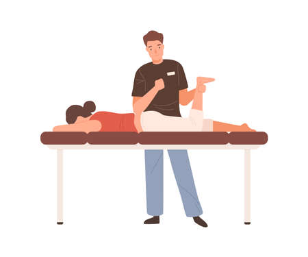 Young male massagist or osteopath doing manual massage. Professional physiotherapist or chiropractor working. Flat vector cartoon illustration isolated on white background