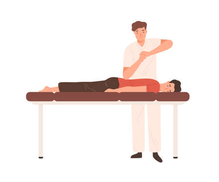 Young doctor, chiropractor or osteopath massaging patient on couch. Professional physiotherapist making elbow massage. Flat vector cartoon illustration isolated on white background