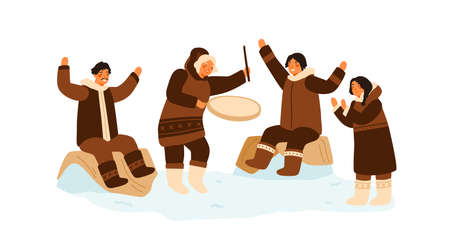 Eskimo people clapping hands, dance and play national ethnic tambourine. Inuit family having fun. Traditional northern recreation. Flat vector cartoon illustration isolated on white background Иллюстрация