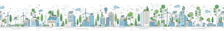 Vector horizontal line art illustration of eco cityscape with alternative energy. Seamless pattern with environmentally friendly city with roof greening, solar panels and windmills