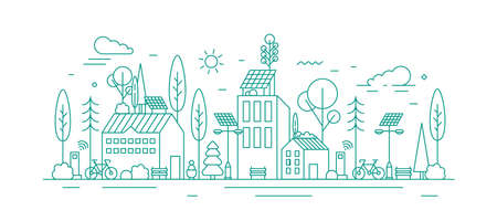 Monochrome vector line art illustration of eco city using alternative energy. Modern environmentally friendly town landscape with ecological infrastructure and solar panels.