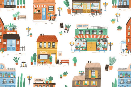 Hand drawn seamless pattern with different cafe, shops and stores. Repeatable background with cute city buildings facades. Backdrop with modern houses exterior. Flat vector cartoon illustration Vector Illustration