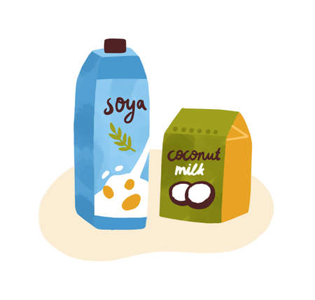 Colorful composition of soymilk and coconut milk in package. Organic dairy protein products for vegetarians isolated on white background. Vector illustration in flat cartoon style