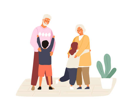 Happy grandchildren meeting and hugging grandmother and grandfather. Cute family scene. Kids visiting grandparents. Flat vector cartoon illustration isolated on white background 向量圖像