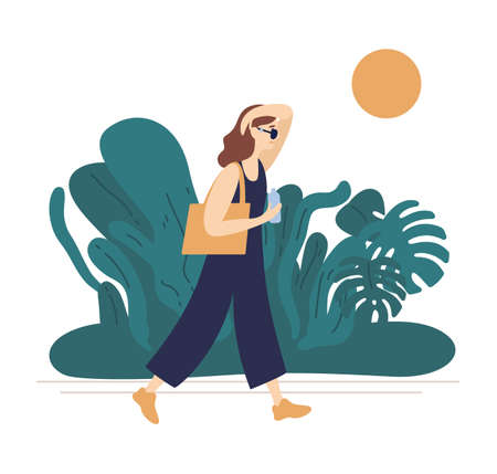 Flat vector illustration of summer hot weather isolated on white background. Young woman in jumpsuit walking in park with tropical plants and wipe off sweat from face. Summertime promenade