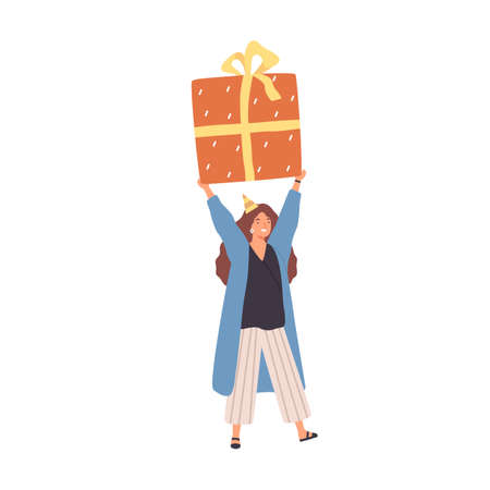 Cheerful woman carrying huge present box overhead. Female character holding big birthday gift in festive packaging. Flat vector cartoon illustration isolated on white background