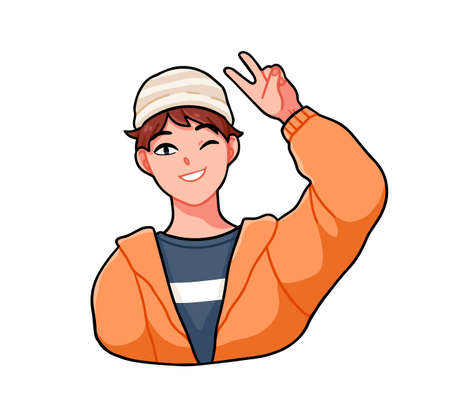 Cheerful anime boy wink and giving a V sign. Happy male character in street style clothes. Vector cartoon illustration of kawaii japanese teenager isolated on white background