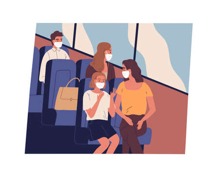 People in face masks commuting or traveling by bus during coronavirus pandemic. Male and female passengers sitting inside modern public transport while covid restrictions. Flat vector illustration Ilustração