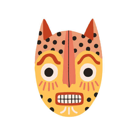 Angry ethnic tribal cat mask showing teeth. Frightening ancient African yellow ritual symbol or souvenir. Flat vector illustration isolated on white background. Clip art element for design