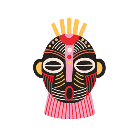 Ethnic african tribal mask with open mouth and closed eyes. Terrifying ancient ritual symbol or souvenir. Hand drawn flat vector illustration isolated on white background. Clip art element for design