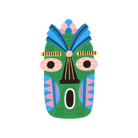 Funny ethnic tiki tribal mask with huge eyes and open mouth. Dreaded ancient ritual symbol or souvenir. Hand drawn flat vector illustration isolated on white background. Clip art element for design Stock Illustratie