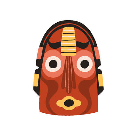 Funny ethnic indian tribal mask with round eyes and open mouth. Dreaded ancient ritual symbol or souvenir. Drawn flat vector illustration isolated on white background. Clip art element for design Stock Illustratie